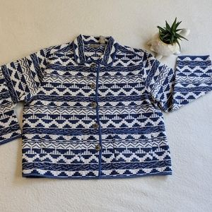 Jane Ashley Knit Full Front Button Sweater, XL
